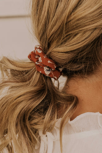 Rust Floral Scrunchie | ROOLEE