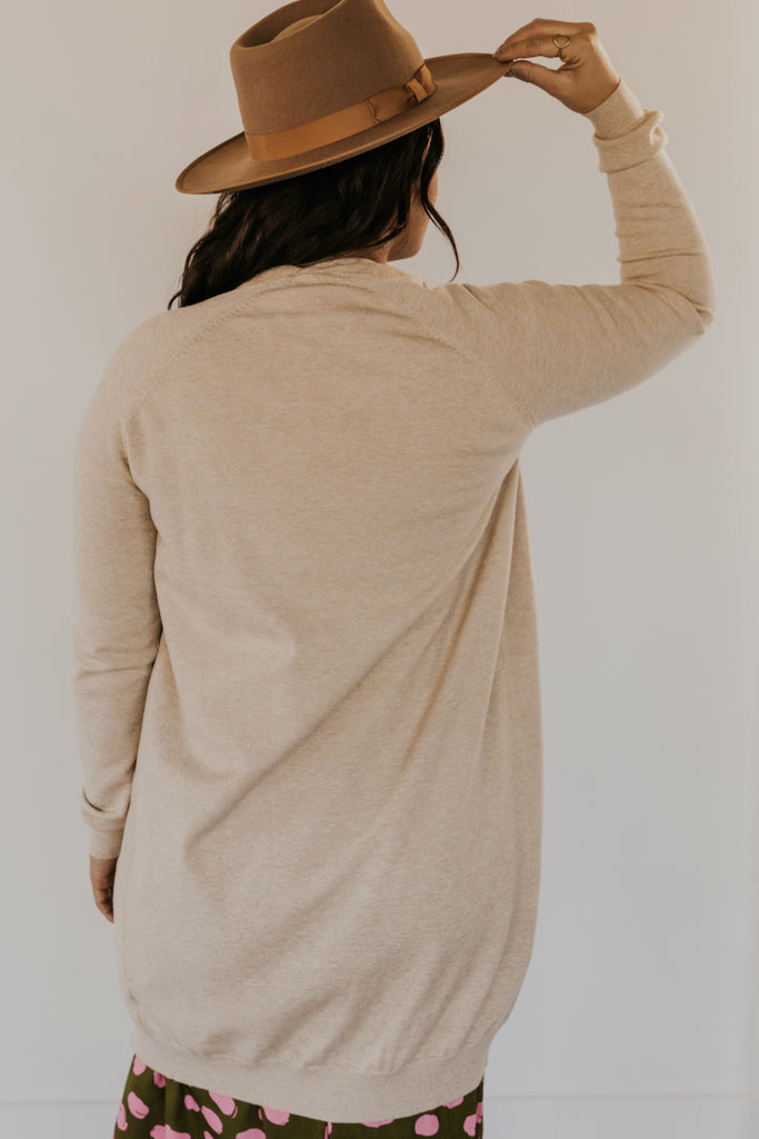 Cream Close Knit Long Sleeve Cardigan | ROOLEE