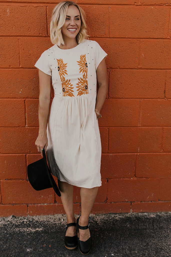 Cream Floral Dress | ROOLEE