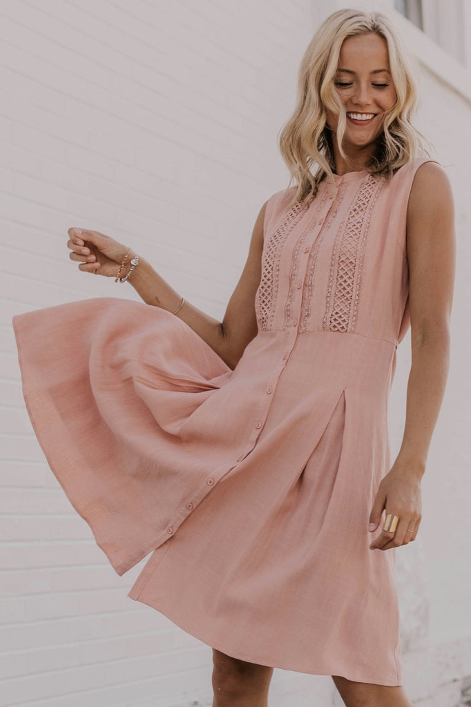 Crochet Detail Pink Dress | ROOLEE