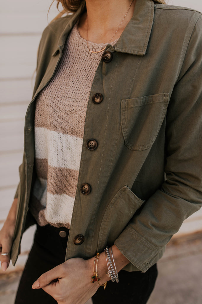 Olive Military Jacket with Details | ROOLEE