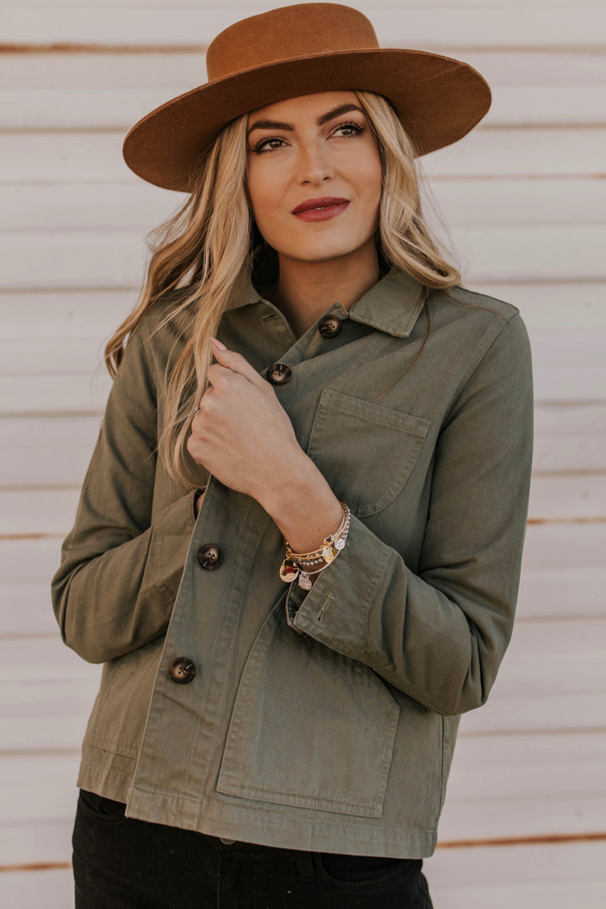 Olive Jacket with Button Up Front and Collar | ROOLEE