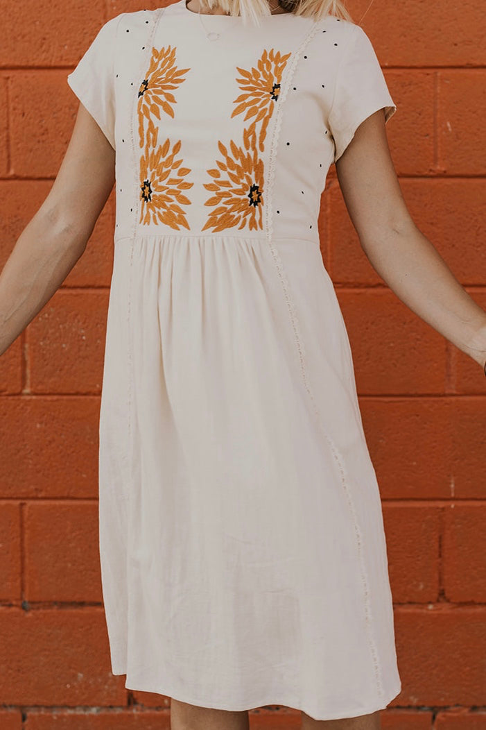 Sunflower Embroidered Dress | ROOLEE