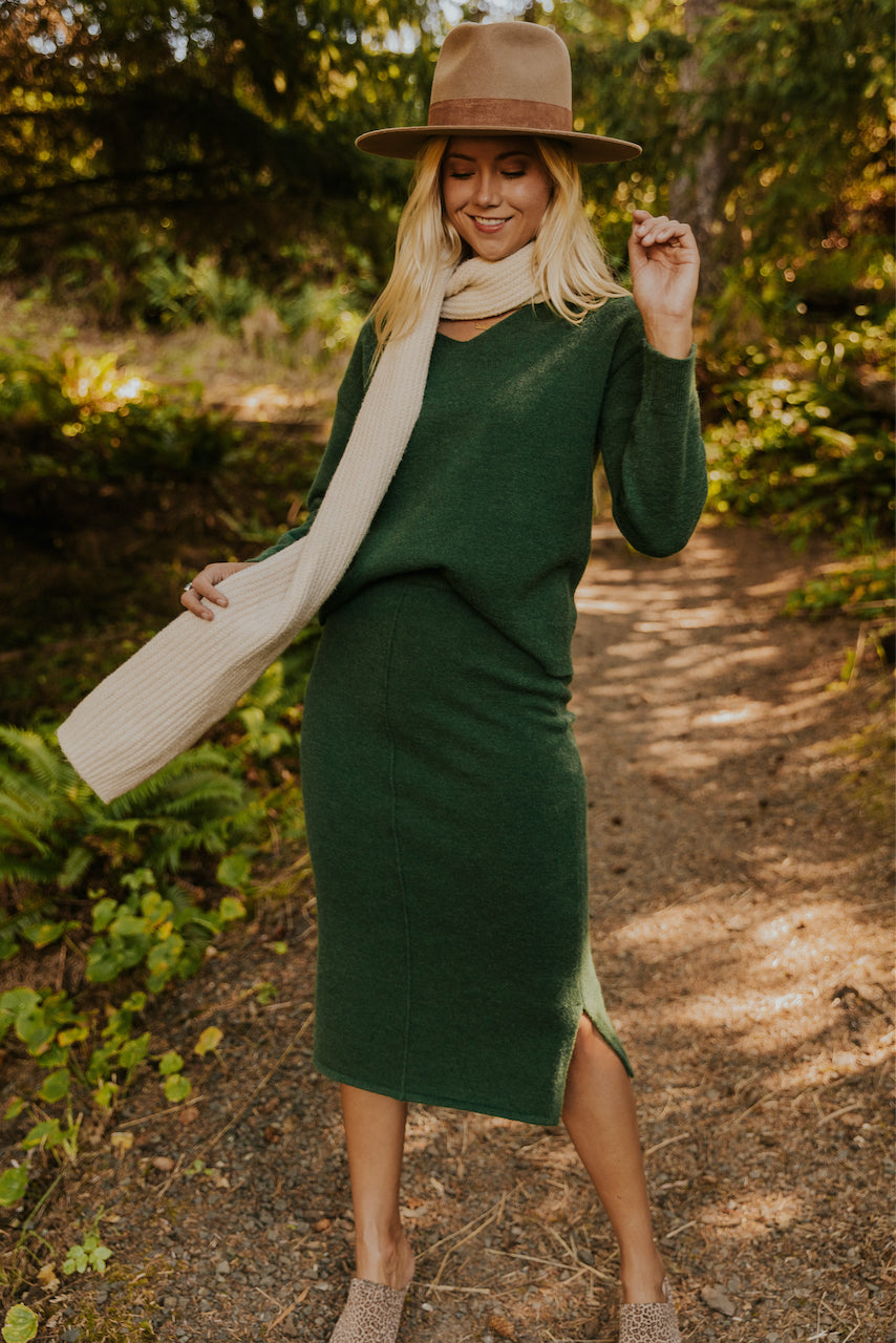 Green knit sweater set | ROOLEE