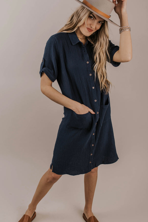 Navy Button Dress | ROOLEE