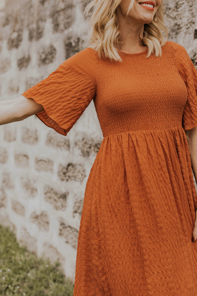 Rust Flowy Sleeve Dress | ROOLEE
