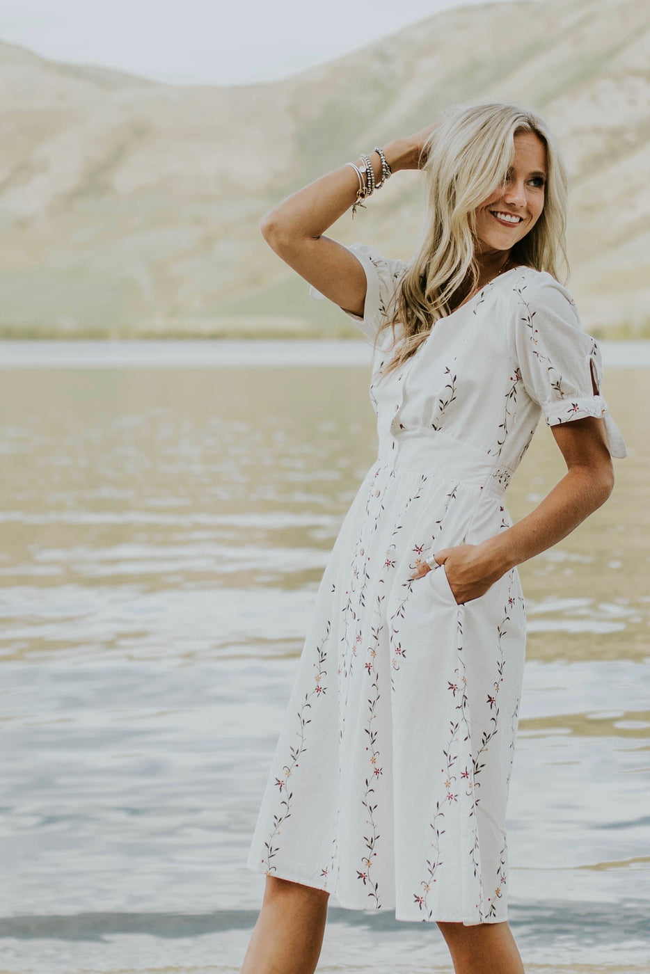 V Neck Dress With Button Up Front | ROOLEE