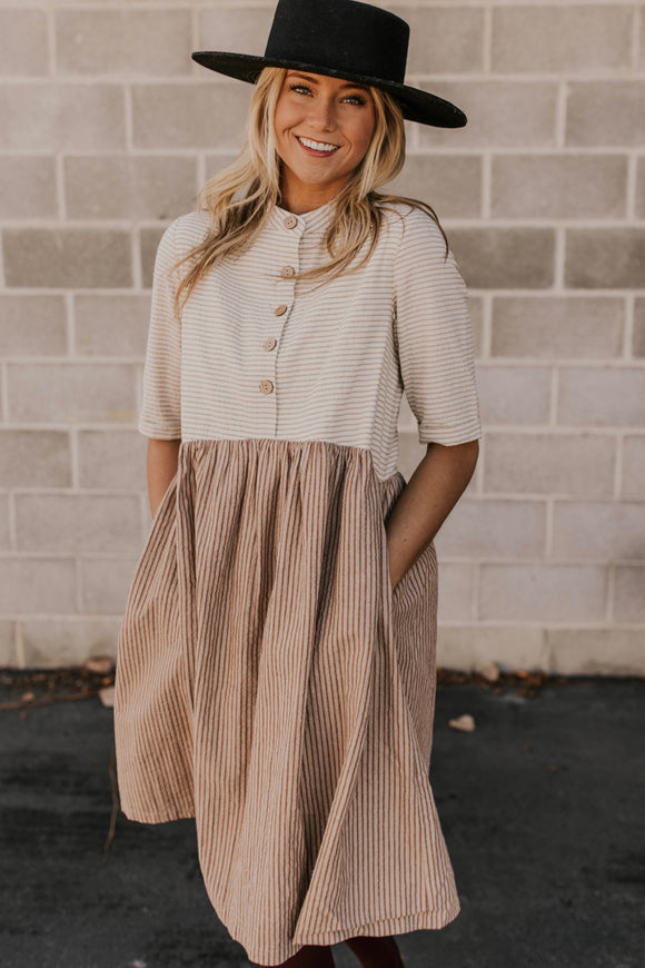 Neutral Stripe Dress | ROOLEE