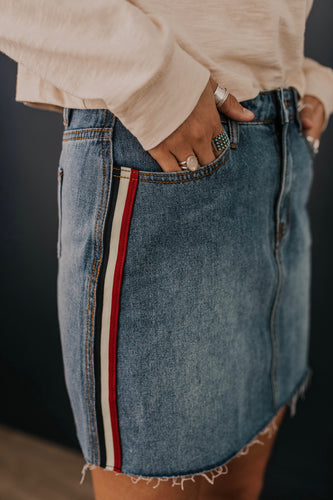 Stripe Denim Skirt | ROOLEE