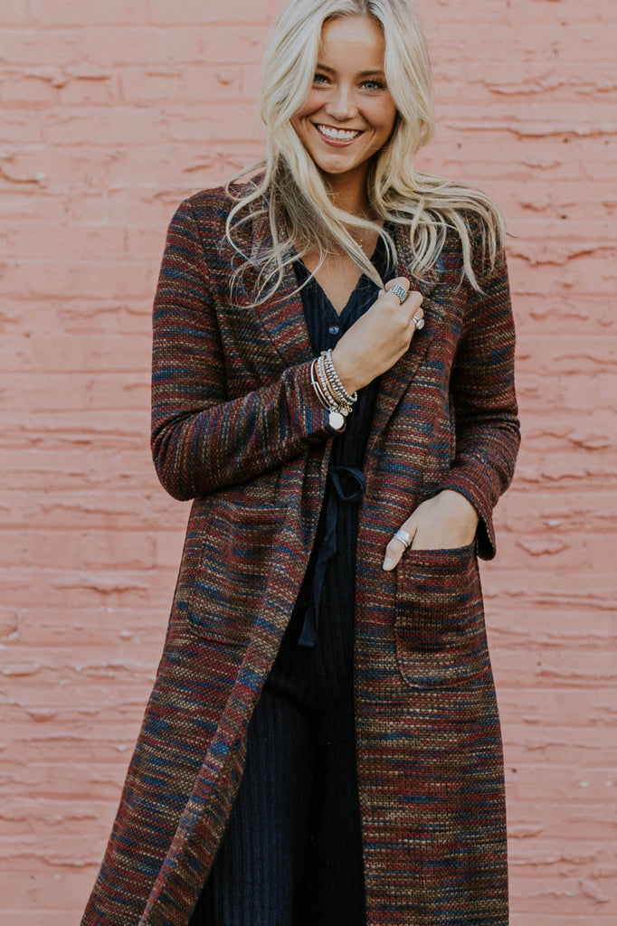 Multi Color Woven Overcoat Outfit | ROOLEE