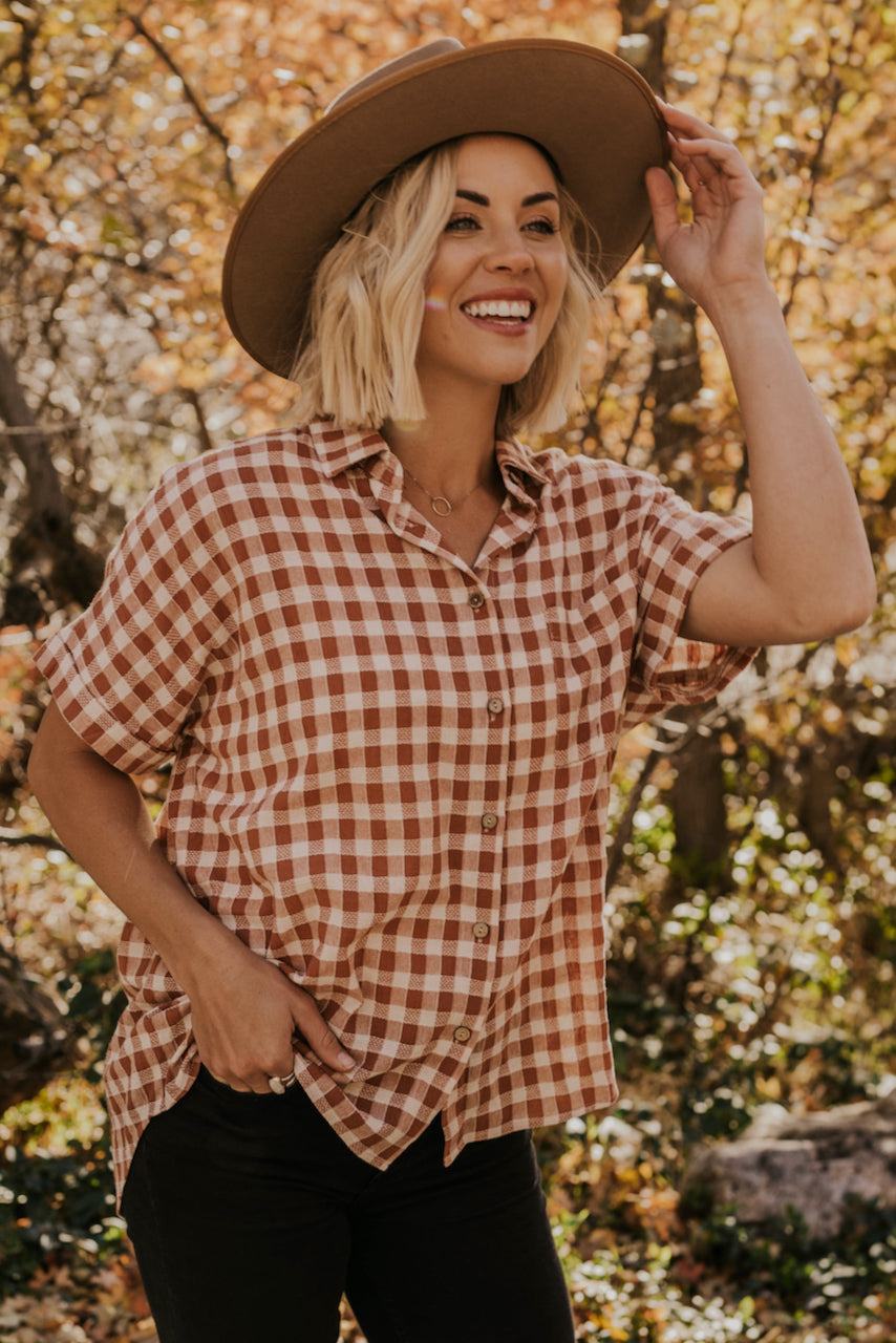Checkered Collared Blouse | ROOLEE