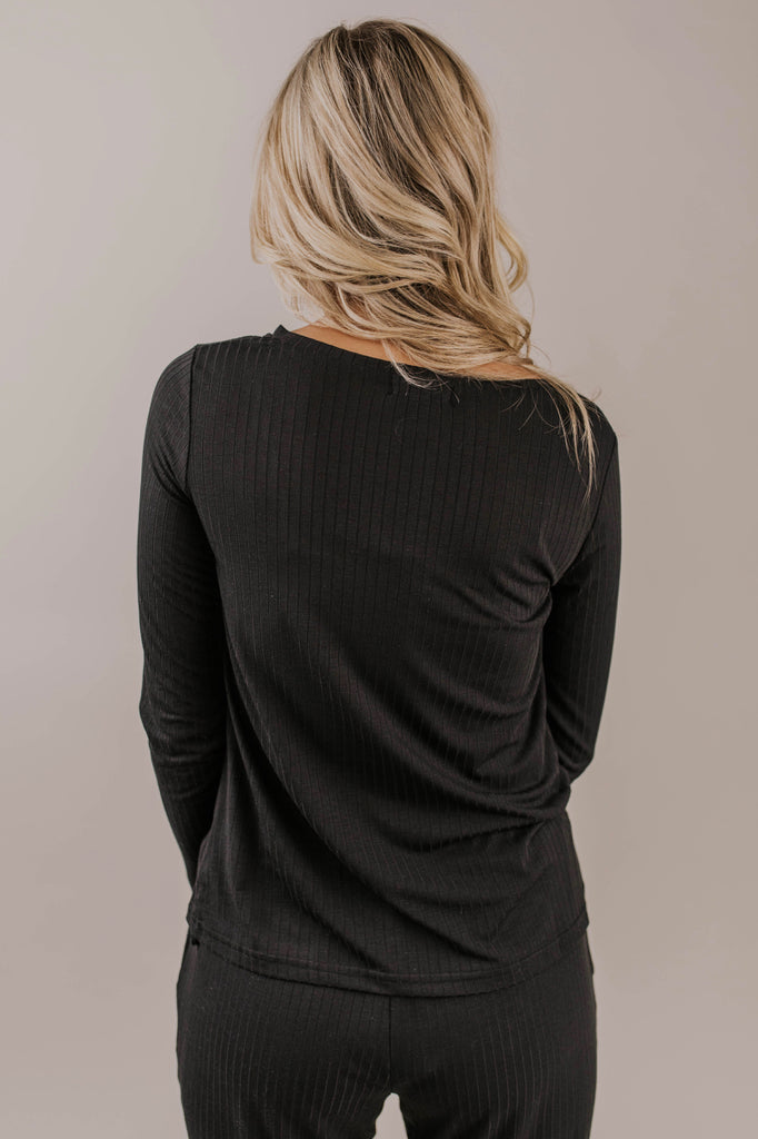 Ribbed Casual Long Sleeve Top | ROOLEE
