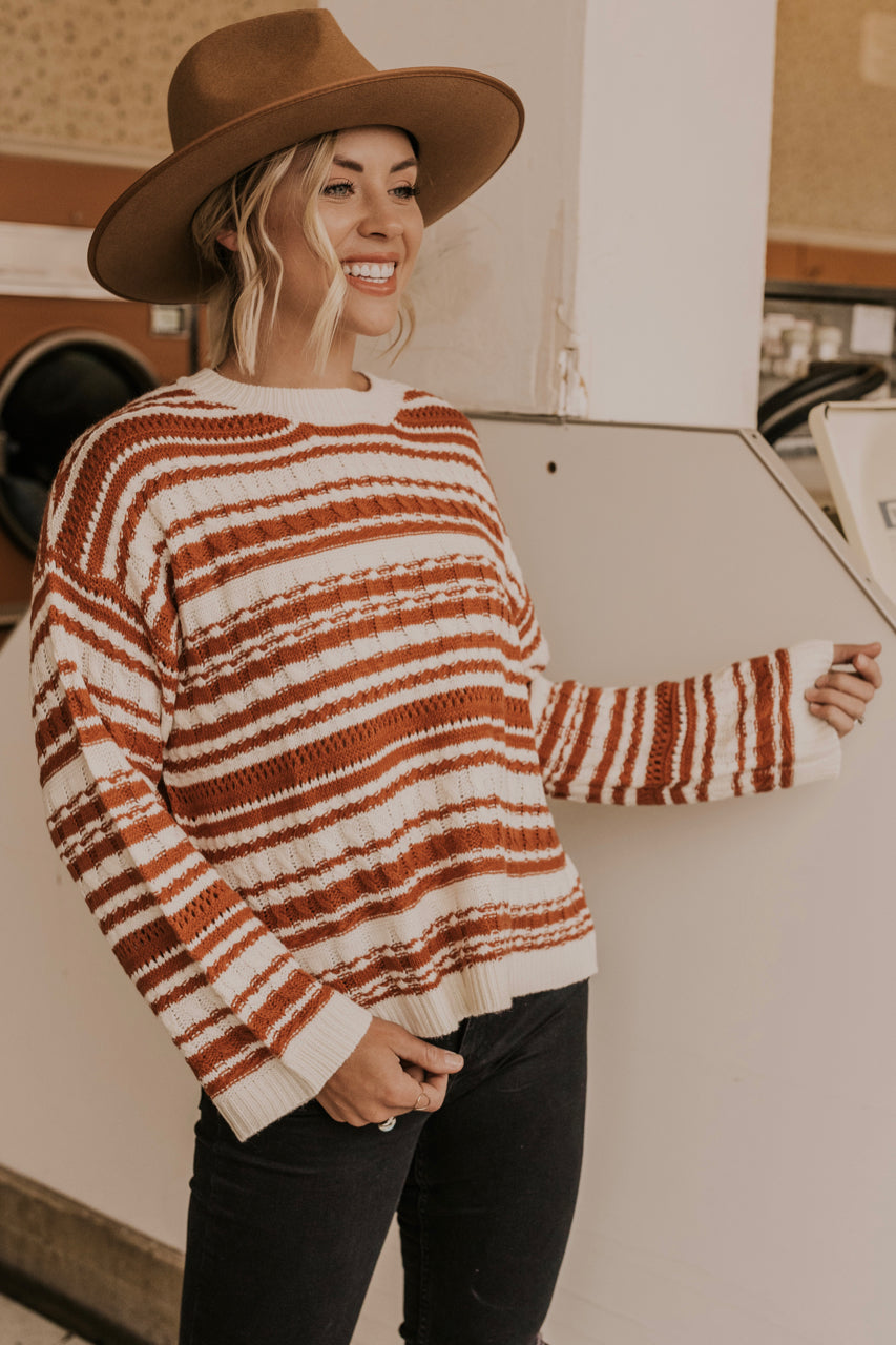 Camel and Cream Stripe Sweater | ROOLEE