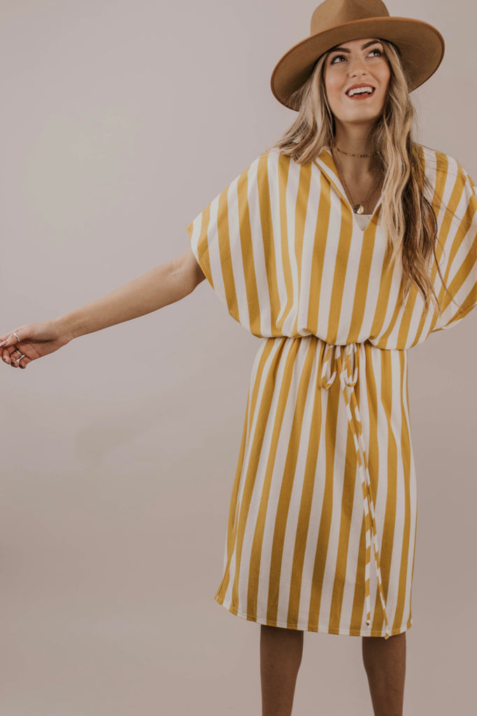 Mustard Stripe Midi Dress Outfit Ideas | ROOLEE