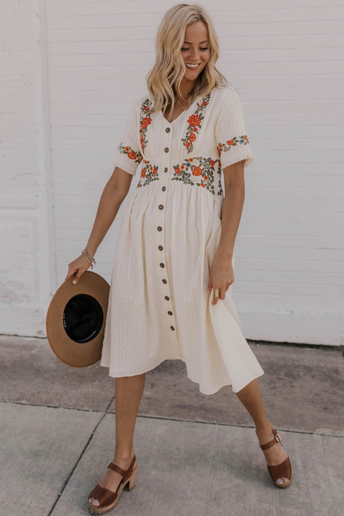 White Embroidered Summer Dress | ROOLEE