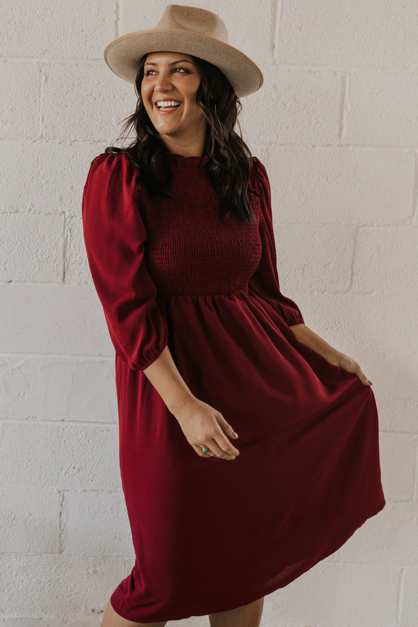 Modest Rust Dress | ROOLEE