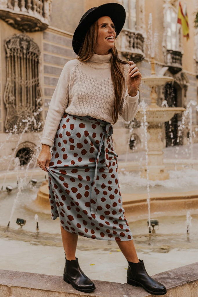 Polka Dot Blue Skirt for Spring | ROOLEE