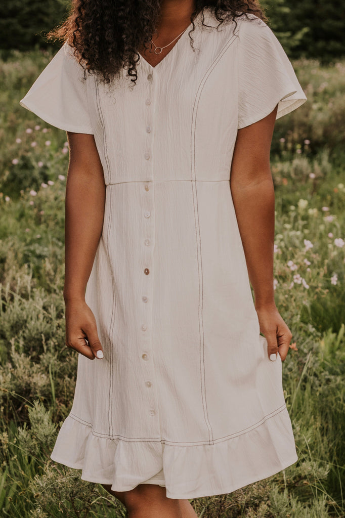 White Button Up Dress | ROOLEE