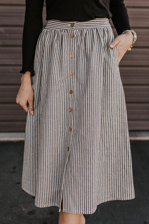 Striped Skirt with Wooden Buttons | ROOLEE