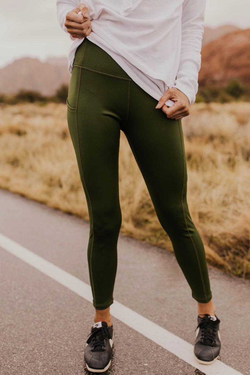 Green Fitted Leggings | ROOLEE