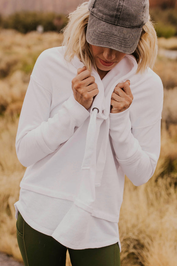White Pullover Hoodie | ROOLEE