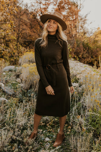 Olive Green Sweater Dress for Holidays | ROOLEE