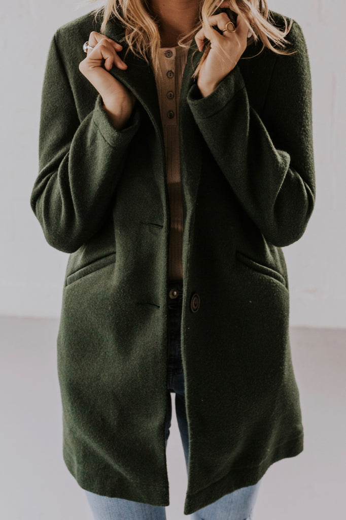 Dark Green Coat for Women | ROOLEE