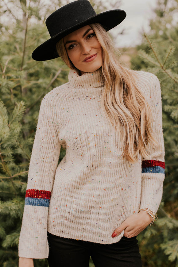 Speckled Turtleneck Sweater With Arm Stripes | ROOLEE