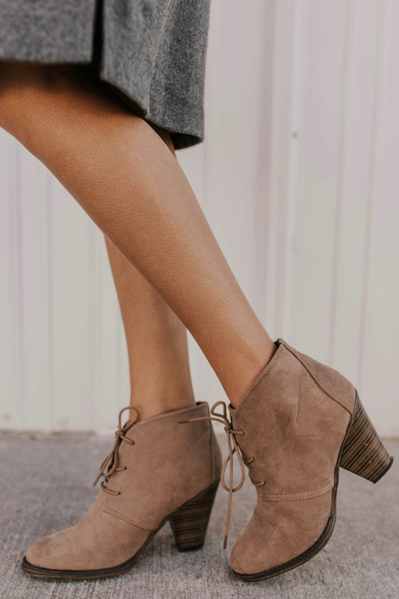 Brown Lace-Up Booties with Block Heel | ROOLEE