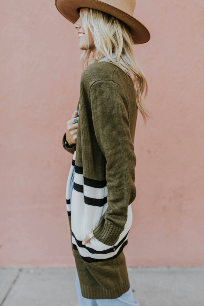 Stripe sweater cardigan with pockets outfit for women | ROOLEE