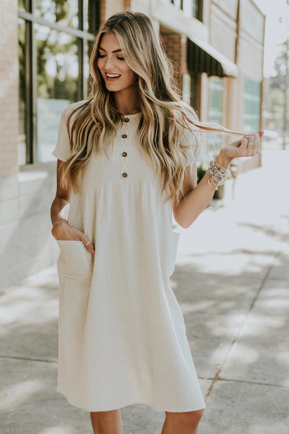 Emily Dee Button Dress | ROOLEE