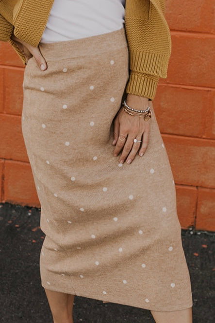 Tan Polka Dot Midi Skirt with Slit for Women | ROOLEE