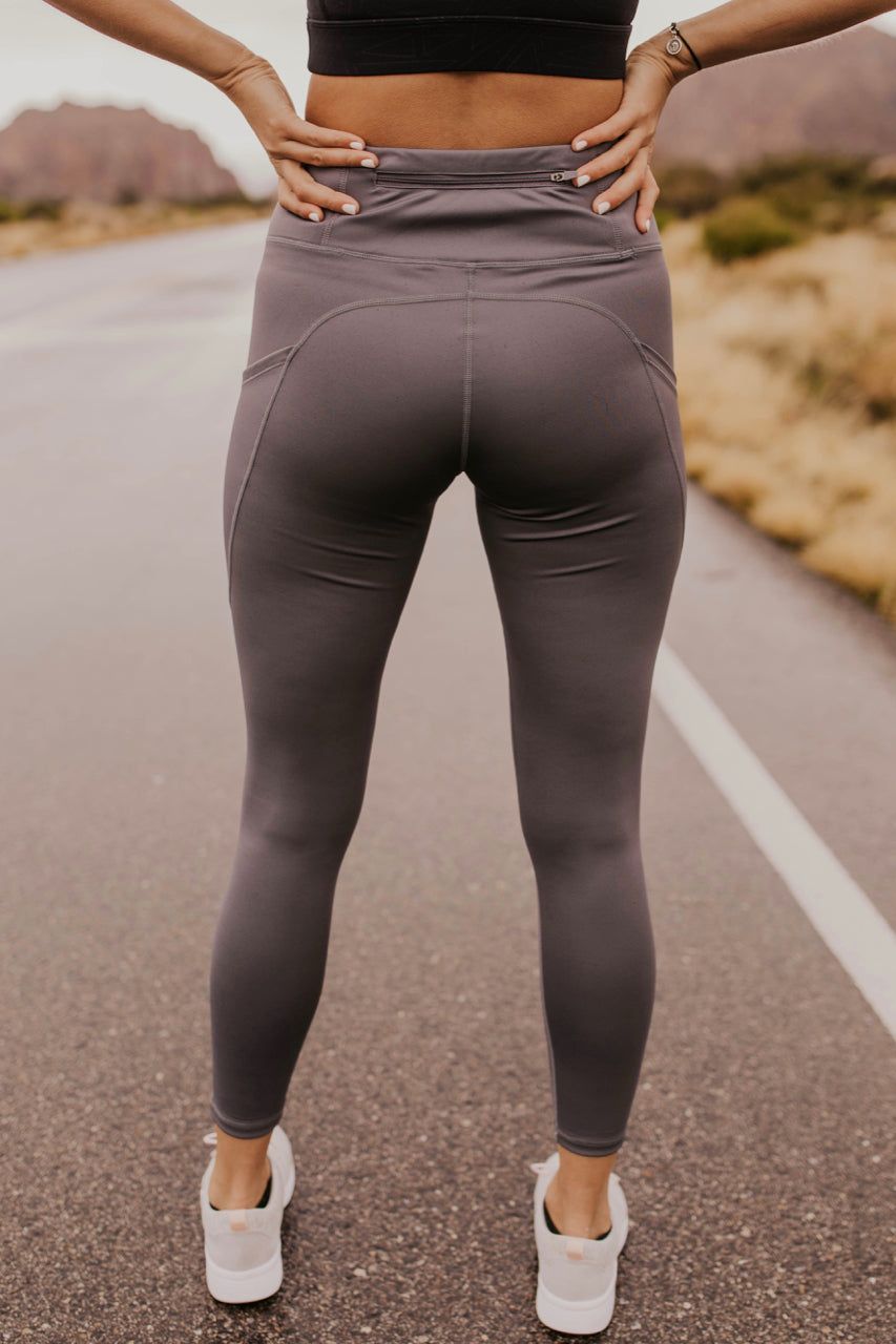 Grey Pocket Leggings For Women | ROOLEE