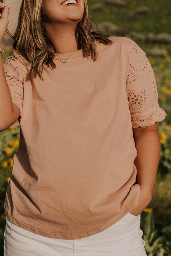 Mauve Eyelet Top | ROOLEE