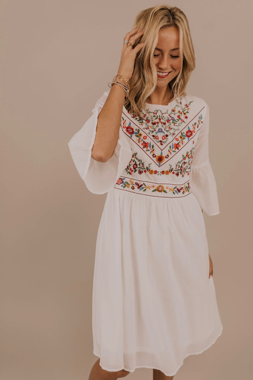 Floral Embroidery Dress | ROOLEE
