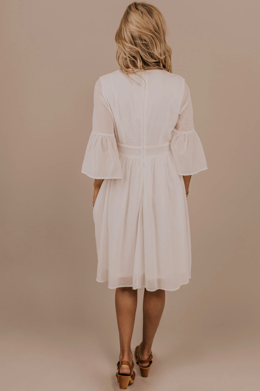 Embroidered Modest Midi Dress | ROOLEE