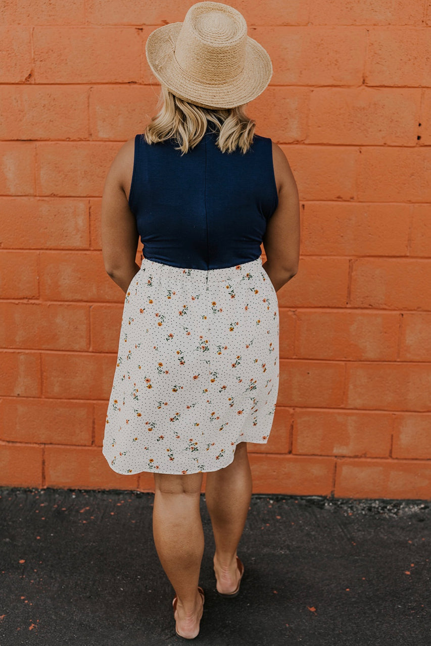 Sleeveless Floral Contrast Dress | ROOLEE