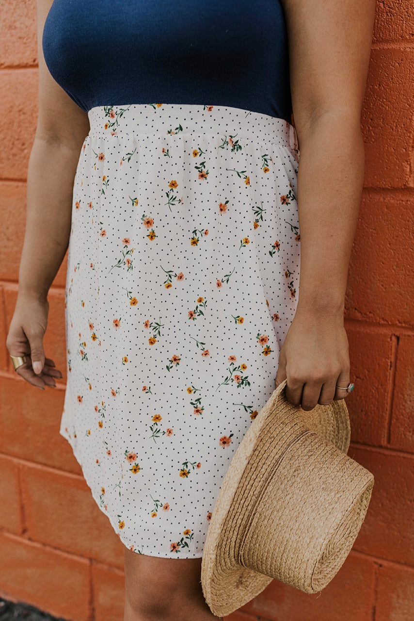 White Floral Contrast Dress | ROOLEE