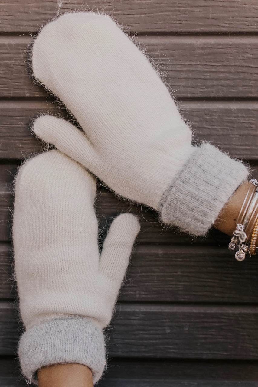 Two-tone Angora Mittens in Ivory  | ROOLEE Accessories