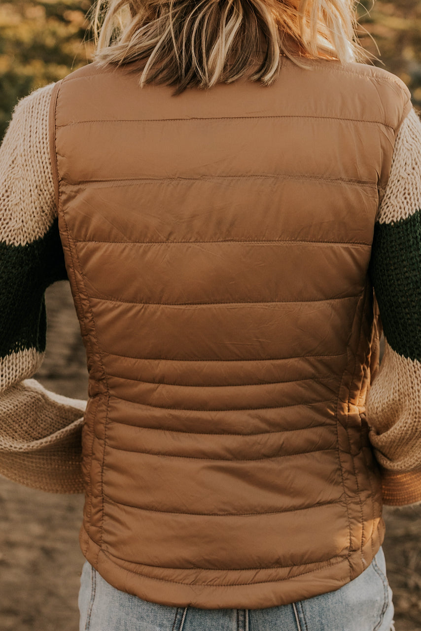 Tan Puffy Vest for Sweater Layering | ROOLEE
