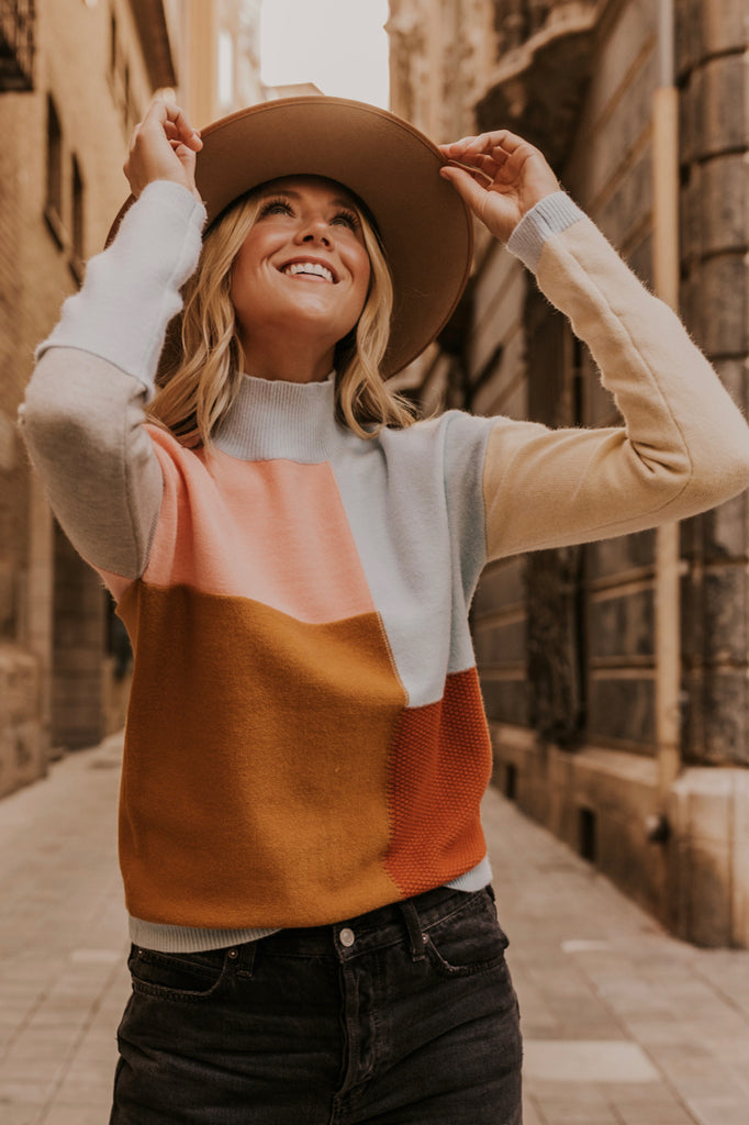 Pastel Colorblock Sweater Women S Fall Outfit Ideas Roolee