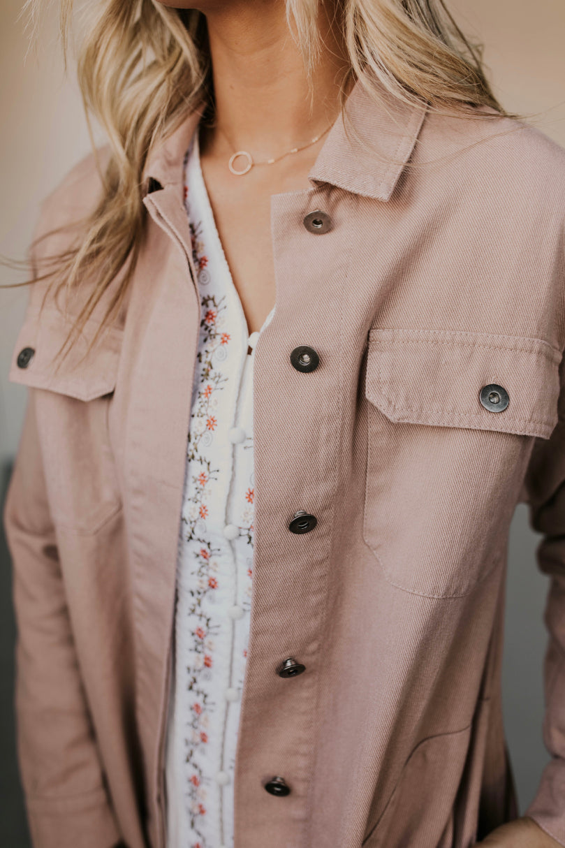 Pink Denim Jacket Outfit | ROOLEE