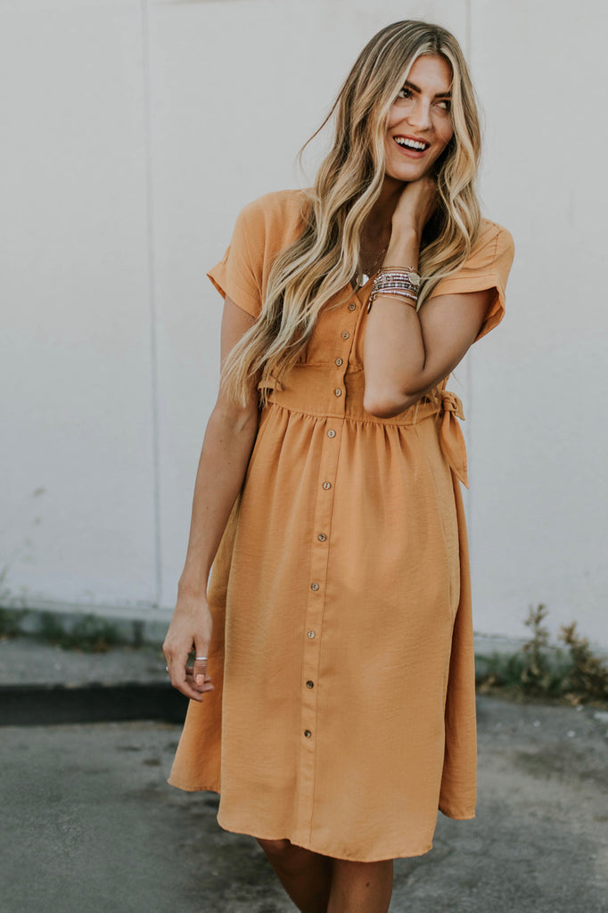 Marina Tie Dress in Honey | ROOLEE