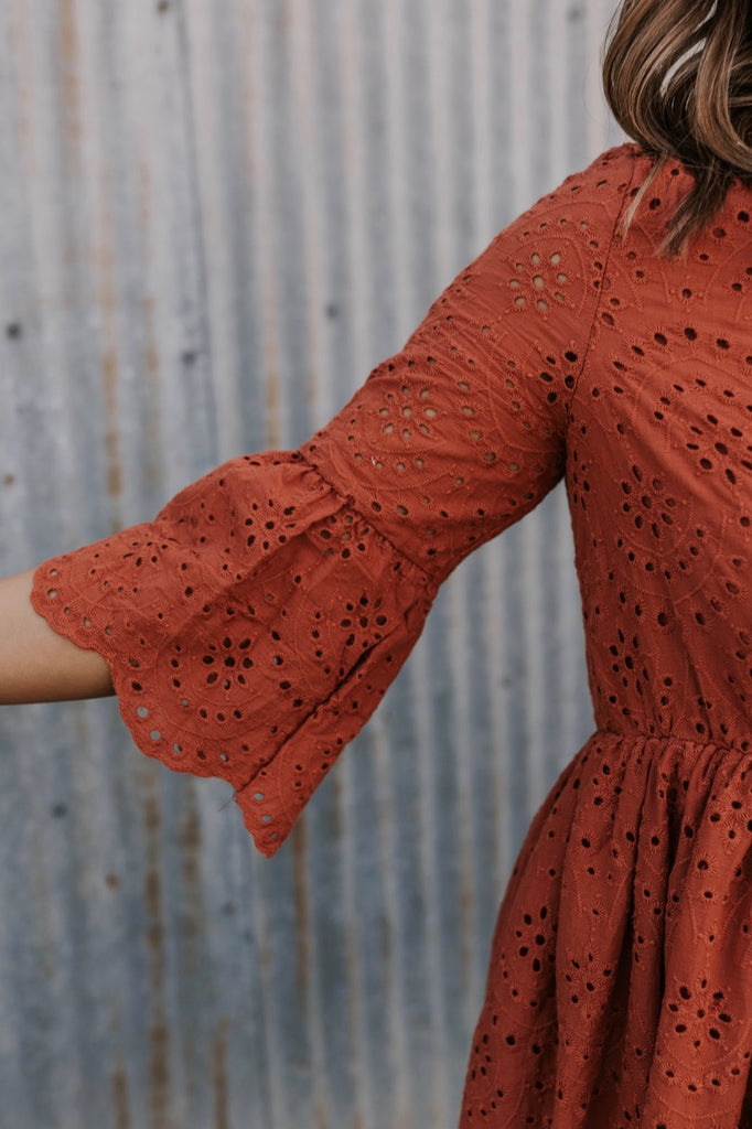 Eyelet Rust Dress | ROOLEE