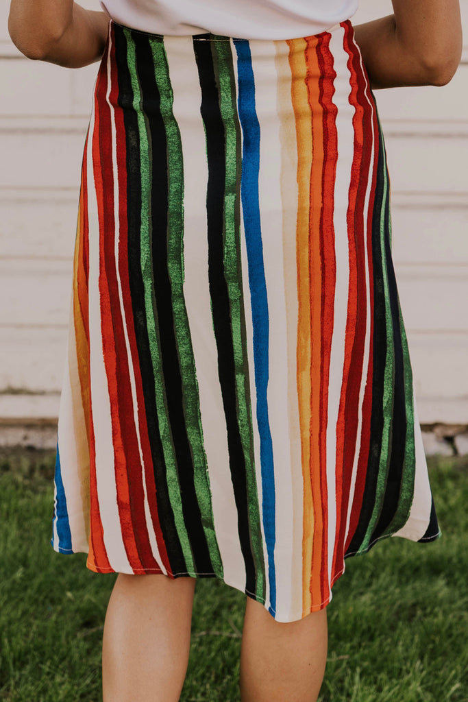 Striped Button Summer Skirt | ROOLEE