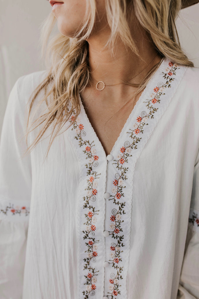 White Embroidered Tops | ROOLEE