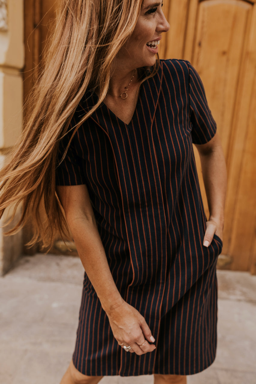 Navy with Rust Striped Dress for Moms | ROOLEE