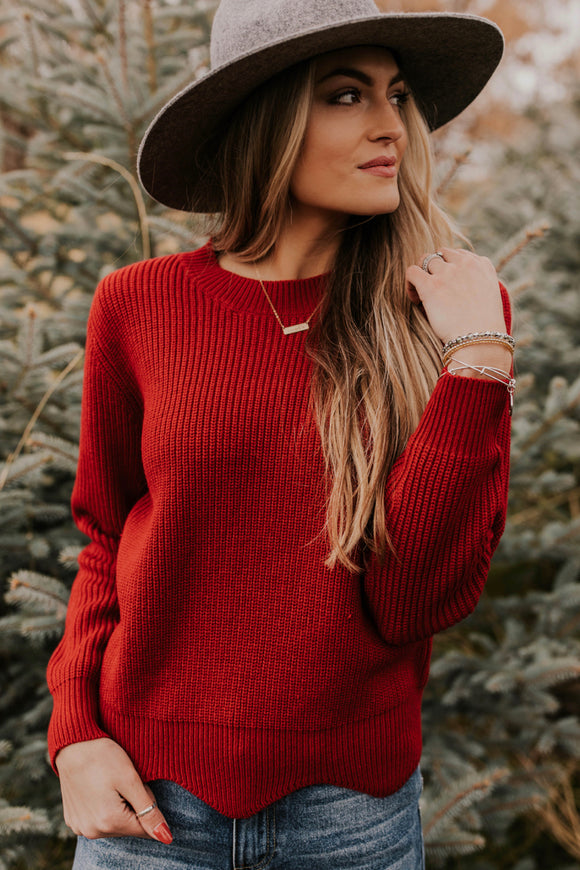 Ribbed Knit Sweater with Scalloped Hem | ROOLEE