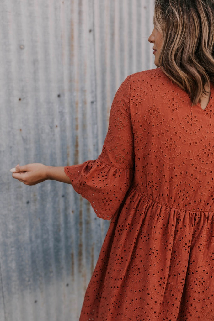 Bell Sleeve Rust Eyelet Dress | ROOLEE