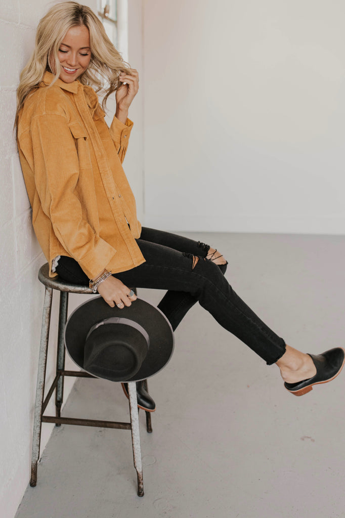 Mustard Corduroy Jacket Outfit | ROOLEE